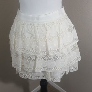 NWT Alice + Olivia Size 4 Tiered Ruffle Lace Skirt